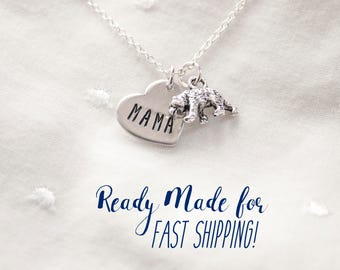 Mama Bear Necklace - Silver Mama Bear Jewelry Gift for Mom Necklace Ready to Ship Gift for Mothers Day Gift Necklace for mom Jewelry
