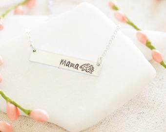 Mama Hedgehog Bar Necklace - Silver Mom Jewelry - Gift for Mom Necklace - Hedgehog Gift for Christmas sale Hedgehog Necklace for mom jewelry