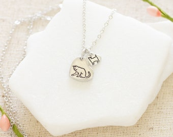 Cat and Kitten Charm Necklace - Silver Cat Jewelry - Gift for Cat Lover Necklace - Mama Gift for Christmas Mom and Baby Cat Necklace