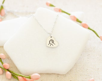 Holding Hands Necklace - Quarantine Gift - Together though far apart - Gift for Quarantine Necklace - I'm with her - Feminist Jewelry