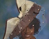 Brown Hatinator Derby hat - Veiled Hatinator - Royal Ascot Derby Hat - Wedding Guest Hat - Evening Dress Hat.  First Lady Hat.