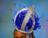 Silver Fascinator  - Royal Ascot Fascinator - Royal Blue & Silver Head piece - Kentucky Derby Fascinator - Derby Hat - Ascot Hat.