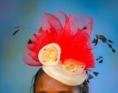 Red & Cream Pill Box Hat - Kentucky Derby Hat - Royal Ascot Hat - Church Hat - Wedding Hat -  Bridesmaid Fascinator - High Tea Fascinator.