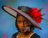 Black and White Hat with Red Trim.  Kentucky Derby Hat.  Royal Ascot Hat.  Mother of the Bride Hat.  Church Hat.  Wedding Hat.