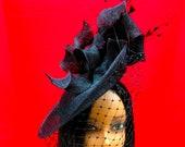 Ladies Black Hat, Formal hat, Dressy Hat, Black Fascinator hat, Funeral Hat, Saucer Hat, Cocktail Hat, Fascinator with veiling