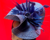 Blue Gold Fascinator – Blue Derby Hat - Avant Garde Hat - Kentucky Derby Fascinator - Royal Ascot Hat - Couture Hadpiece - Derby Fascinator