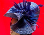 Blue Gold Fascinator – Blue Derby Hat - Avant Garde Hat - Kentucky Derby Fascinator - Royal Ascot Hat - Couture Hadpiece - Derby Fascinator