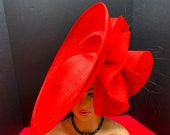 Exclusive Red Large brimmed Hatinator with bow.  Kentucky Derby Hat. Royal Ascot Derby Hatinator. Wedding Hat. High Tea Party Hatinator.