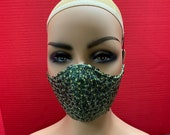 Triple Layer Sequin Bling Fashion Face Mask. Fashion Face Masks with Filter.  Reusable Face Mask. Cloth Face Cover. Adjustable Ear Loops.