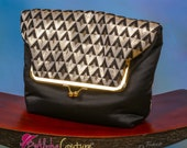 Black and Gold Envelope Purse - Church Purse - Wedding Clutch Bag - 'Bettie' Fold over envelope bag/