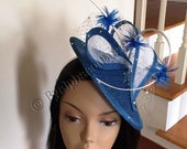 Blue & White Sinamay Fascinator - Kentucky Derby Fascinator - Couture Fascinator - Ascot Fascinator.