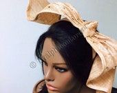 Beige Sculptured Beaded Fascinator.  Royal Acot Hat, Kentucky Derby Hat, Exclusive Hat, Church Hat, Stylish Hat.