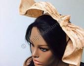 Beige Sculptured Beaded Fascinator.  Royal Acot Hat, Kentucky Derby Hat, Exclusive Hat, Church Hat, Stylish Hat.