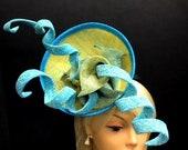 Spiral Derby Percher Hat - Percher 'Spiralo' Fascinator - Royal Ascot Percher Hat -  Ladies Day Percher Fascinator - Blue & Yellow .