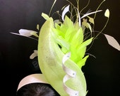 Mint Green Spiral Fascinator - Derby Fascinator - Wedding Hat - Green Bridal Fascinator - Mint Green Hat - Feathered  Royal Ascot Hat.