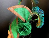 Green and Chocolate Brown Fascinator - Mother of the bride/groom Fascinator - Royal Ascot Fascinator - Derby Day Hat - Green Spiral Hat.