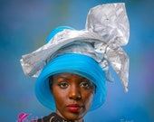 African Royal Ascot Hat - Church Hat - Mother-in-law Hat- Kentucky Derby Hat - Mother-of-Bride Hat - Gele Hat. Crinoline Hat.  Blue Hat.