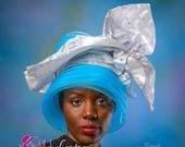 African Royal Ascot Hat - Church Hat - Mother-in-law Hat- Kentucky Derby Hat - Mother-of-Bride Hat - Gele Hat. Crinoline Hat.  Blue Hat.
