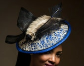 "Royal Blue and Dark Cream Fascinator.  Royal Ascot Hat, Kentucky Derby Hat, Stylish Hat, Church Hat, Fancy Hat. ""ELISHEBA"""