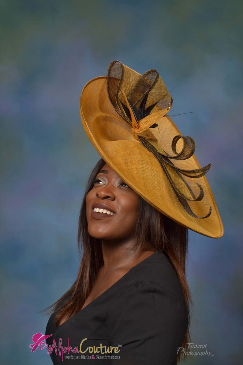 9f3cce107036a Exclusive Mustard Large brimmed Hatinator. Kentucky Derby