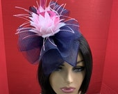 Blue and Pink Rosette Fascinator - Kentucky Derby Fascinator - Royal Ascot Hat - Derby Hat - COGIC Hat - Pillbox Hat – Blue and Pink Hat.