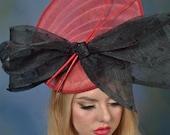 Burgundy Fascinator - Shell Saucer Fascinator -  Derby Fascinator - Disc Derby Hat - High Tea Fascinator - Wedding Hat - Church Hat.