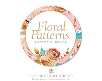Product Label Sticker-Premade Label Sticker for Products & Small Crafty Business-Floral,Rose,Glitter-Pink,Gold,Blue-Label Sticker Template