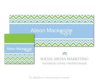 Facebook Cover,Facebook Timeline Cover,Profile Image,Social Media Marketing-Chevron,Solid-Blue,Green,White-Facebook Storefront