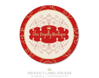 Product Label Sticker-Premade Label Sticker for Products & Small Crafty Business-Crown,Swirls,Frame-Red,Gold,Beige-Label Sticker Template