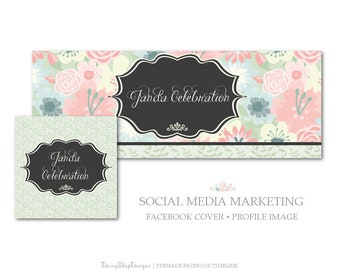 Facebook Cover,Facebook Timeline Cover,Profile Image,Social Media Marketing-Floral,Daisies,Leaves,Swirl-Pink,Green,Black-Facebook Storefront