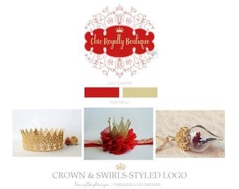 Premade Logo Design | Swirls Styled Frame Jewel Royal Crown Jewelry Logo Design Branding  | Red Gold Beige | Business Branding Logo