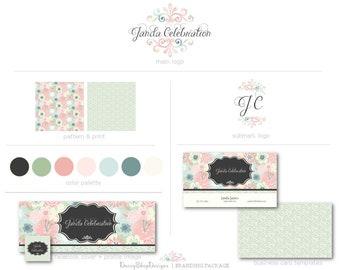 Premade Facebook Branding Kit | Floral Daisy Damask Swirls Branding Package | Pink Black Green Blue Yellow Beige | Facebook Marketing Set