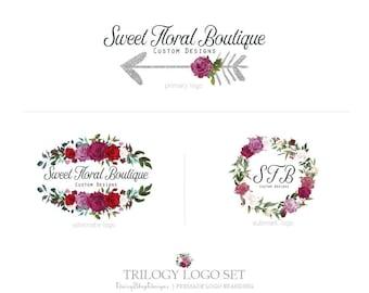 Premade Branding Package | Floral Glitter Arrow Roses Branding Identity Trio Logo Suite | Burgundy Jade Silver Black | Logo Branding Set
