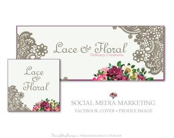 Facebook Cover,Profile Image,Social Media Marketing-Lace,Floral-Burgundy,Taupe-Facebook Storefront
