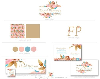 Premade Facebook Branding Kit | Floral Roses Glitter Design Leaves Branding Package | Pink Peach Gold Blue White | Facebook Marketing Set