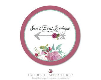 Product Label Sticker-Premade Label Sticker for Products & Small Crafty Business-Floral,Roses,Arrow-Burgundy,Jade-Label Sticker Template