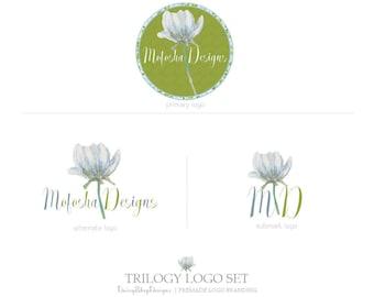 Premade Branding Package | Moroccan Styled Floral Damask Branding Identity Trio Logo Suite | Green Blue Light Blue | Logo Branding Set