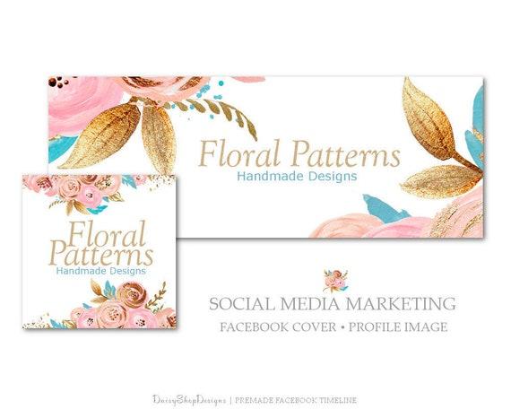Premade Facebook Couverture Fleurs Roses Paillettes Design Etsy