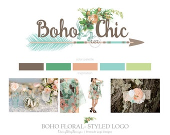 Premade Logo Design | Bohemian Tribal Boho Floral Arrow Logo Design Branding | Peach Teal Brown Green Beige | Business Branding Logo