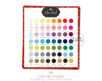 Premade Color Chart for Your Etsy Store Listings | Gold Crown Swirls | Red Gold Black white | Matching Etsy Shop Sets Sold Separately