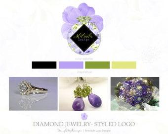 Premade Logo Design | Floral Diamond Daisy Jewelry Logo Design Branding | Lavender Black Olive Yellow | Business Branding Logo