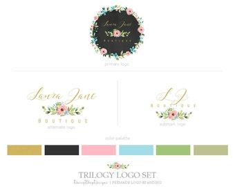 Premade Branding Package | Chalkboard Floral Wreath Branding Identity Trio Logo Suite | Gold Black Pink Green Blue | Logo Branding Set