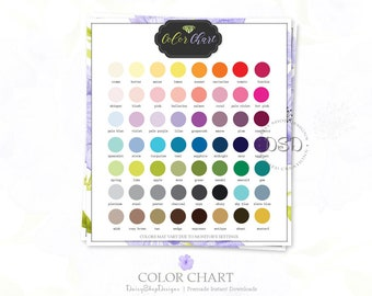 Premade Color Chart for Your Etsy Store Listings | Floral Daisy | Lavender Green Black | Matching Etsy Shop Sets Sold Separately