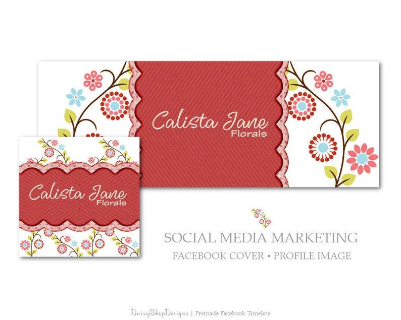 Premade Facebook Cover Floral Daisy Pinwheel Flowers Social