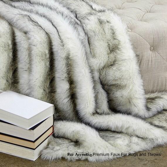 Luxurious Arctic Fox Faux Fur Throw Blanket Brown Tip Etsy