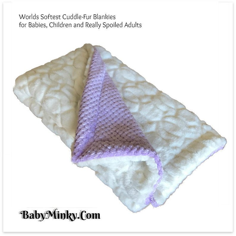 Worlds Softest Minky Cuddle Fur Blanket White with Soft Purple Waffle  Minky Cuddle Fur All Sizes and Colors Reversible