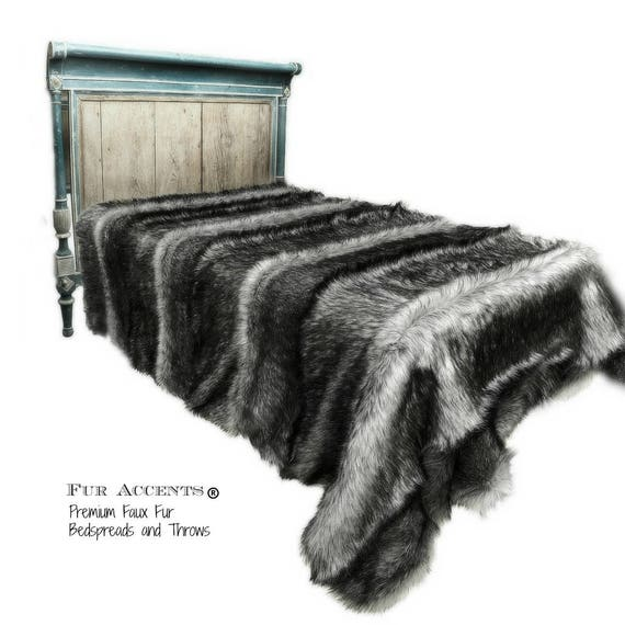 Faux Fur All New Sizes Light Wolf Throw Blanket Faux Fur Bed Spread Coyote