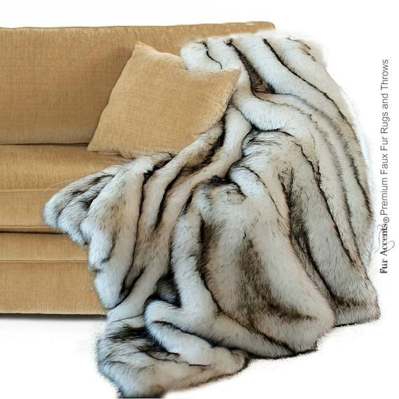 Luxurious Arctic Fox Faux Fur Throw Blanket Black Tip Or Etsy