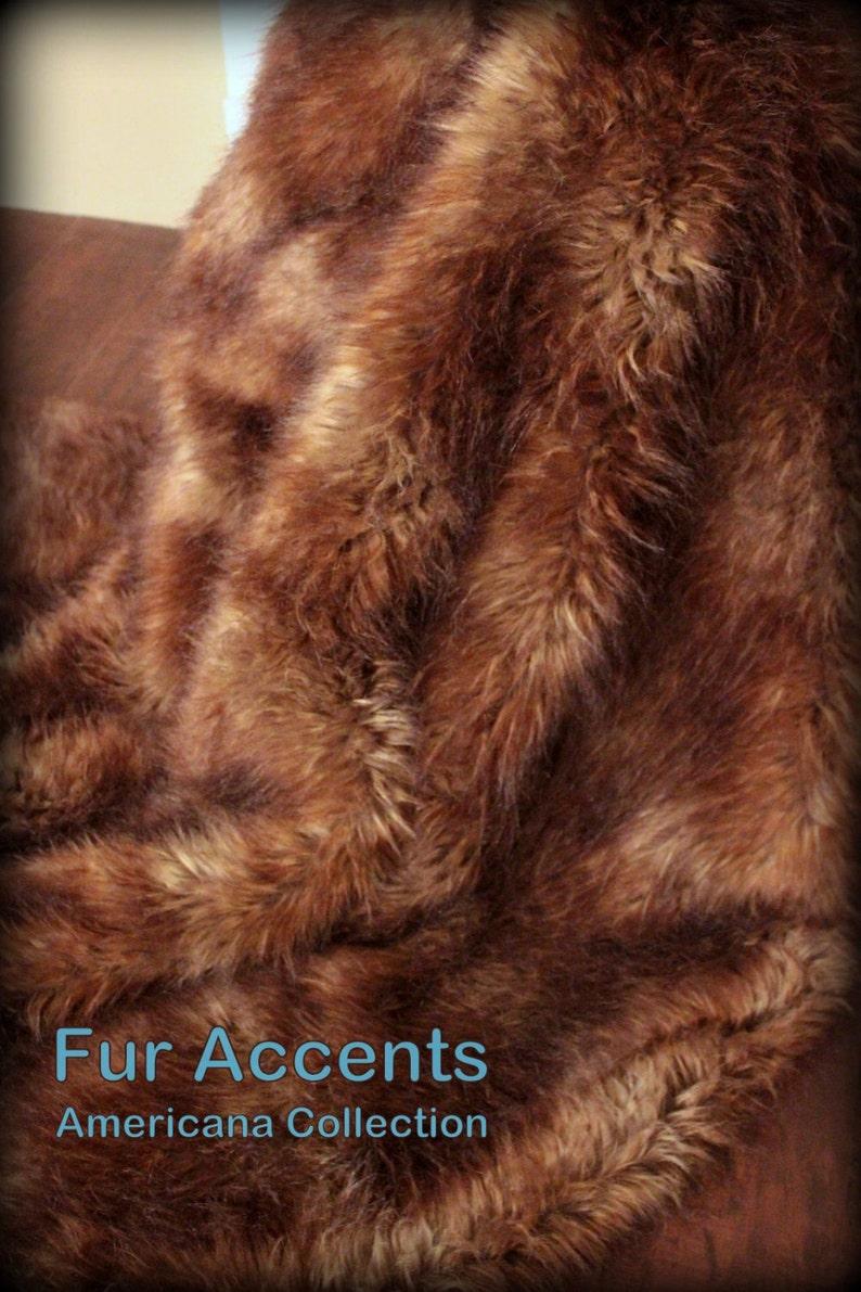 FUR ACCENTS Faux Fur Throw  Blanket   Brown Tones