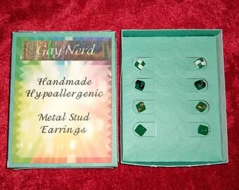 Handmade Hypoallergenic Set of 4 Kelly Green Plastic Lanyard Stud Earrings